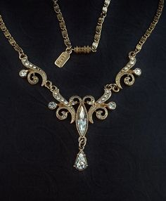 VINTAGE 1928 Jewelry Bridal WEDDING Necklace VICTORIAN Revival Crystal #VintageWeddingJewelry #WeddingNecklace https://www.etsy.com/listing/196212293/vintage-1928-jewelry-bridal-wedding?ref=shop_home_active_2
