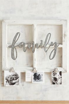 Rustic wooden family window frame with clips to hang priceless family photos; a great gift for Mom on Mother's Day #ad #mothersday #family #farmhousedecor