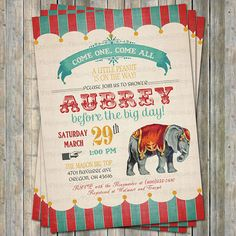 Vintage Circus baby shower invitations por freshlysqueezedcards