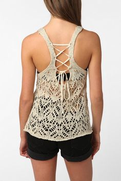 Staring at Stars Crochet Lace-Up Sweater Tank