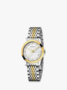 Buy Gucci Women's G-Timeless Mother of Pearl Diamond Two Tone Bracelet Strap Watch, Silver/Gold from our Women's Watches range at John Lewis & Partners. Pearl Diamond, Stainless Steel Bracelet, Rose Gold Plates, Fashion Bracelets, Beautiful Necklaces, Bracelet Watch, Silver, John Lewis