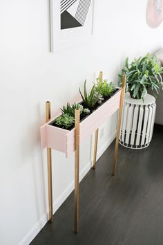 Who said window boxes are just for windows? Add some daddy long legs and you got yourself a planter by gummergal Rock Plants, House Plants, Indoor Garden, Indoor Plants, Espace Design, Diy Plant Stand, Plant Stands, Beautiful Mess, Window Boxes