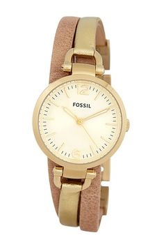 Women's Georgia Leather Strap Watch by Fossil on @HauteLook - very nice and dressy :)