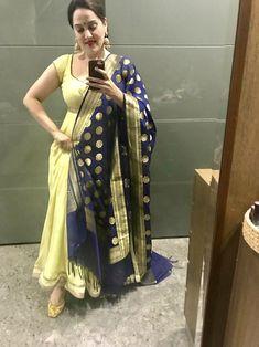 neck with dupatta Churidar, Anarkali, Lehenga, Indian Fashion Trends, Punjabi Fashion, Ethnic Outfits, Fashion Outfits, Punjabi Suit Simple, Marriage Suits