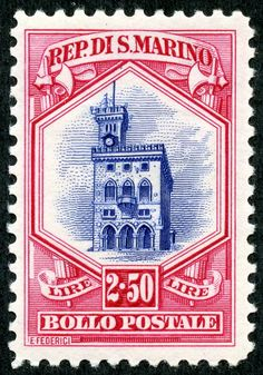 "San Marino 1929 Scott 127 2.50 l carmine rose & ultramarine ""Government Palace"""