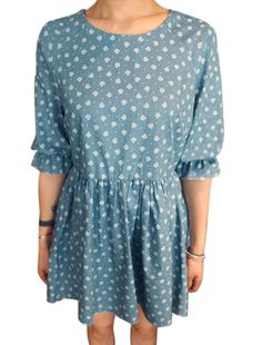 Lady Floral Prints Zip Fly Back Elastic Cuffs Unlined Dress Blue S
