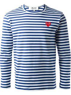 Comme Des Garçons Play T-shirt Rayé À Patch Logo Coeur - Giulio - Farfetch.com