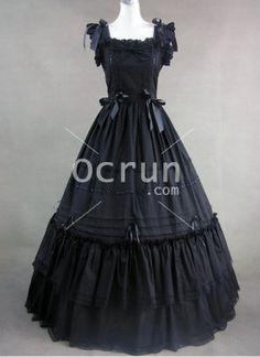 Lange Schwarz quadratischen Ausschnitt Vitorian Kleid