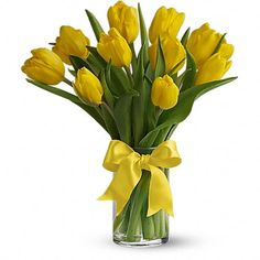 Sunny Yellow Tulips  Price:  US$39.99  Sunny yellow tulips are a sure sign of spring. Even if the weather is not cooperating, you can be sure the person who receives this bright bouquet will feel the warmth of your message.
