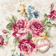 "Kilala Elegant Roses QMS30752-11A  By QH Textiles: Kilala Elegant Roses is a beautiful rose collection by QH Textiles.  100% cotton.  43/44"" wide.  Made in Japan.  This fabric features large red rose bouquets tossed on a cream toile background.  Swatch is 8"" X 8""."