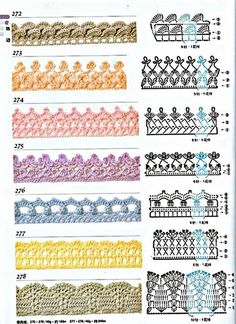 Check out the diagramsand learn to make more than 150 points, (crochet edgings) with images. There are several crochet bordersthat can be applied in various crochet projects. Choose your favorit