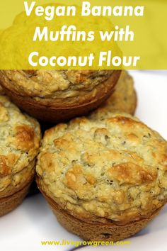 These vegan banana muffins with coconut flour are the perfect easy to make vegan breakfast recipe to add some light and fluffy treats to your morning. Coconut Flour Banana Bread, Coconut Bread Recipe, Vegan Banana Muffins, Coconut Muffins, Coconut Flour Recipes, Coconut Banana Muffins, Vegan Dishes, Vegan Desserts, Vegan Sweets