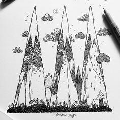 Dave Garbot — Mountain Kings #illustration #drawing #penandink... Sketchbook Drawings, Doodle Drawings, Easy Drawings, Doodle Art, Mountain Sketch, Mountain Drawing, King Drawing, Building Illustration, Nature Drawing