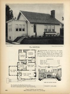 The DENTON - Home Builders Catalog: plans of all types of small homes by Home Builders Catalog Co. Published 1928