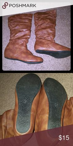 Tan boots Barely worn tan boots.  Size 6. Shoes