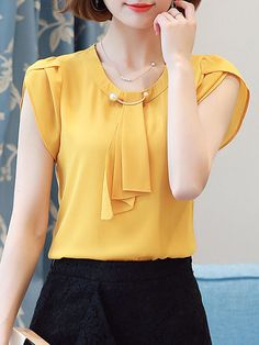 Buy Round Neck Beading Plain Petal Sleeve Blouse online with cheap prices and discover fashion Blouses at Fashionmia.com.