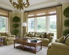 Wonderful Curtain Ideas For Large Windows And Window Treatments : Elegant Living Room With Large Window Shades And Curtains And Beige Sofa S...