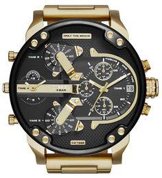 DIESEL Men s Mr.Daddy 2.0 Gold Chronograph Stainless Steel Analog Watch DZ7333