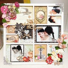 You & me always together - Scrapbook.com - Use a divided frame to create a gorgeous multi photo wedding design.