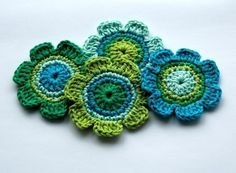 Crochet Applique in Blue and Green Shades by AnnieDesign on Etsy, $6.50