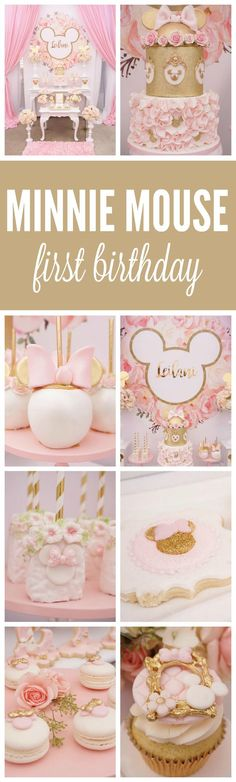 Pink and Gold Minnie Mouse First Birthday Party featured on Pretty My Party