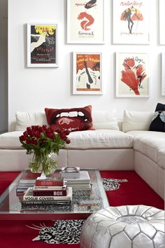 Moroccan silver pouf in red & white interior {See more of Samantha Todhunter Design Ltd.'s William Blake House on Design Salon, Moroccan Pouf, Inviting Home, Room Screen, Living Room Designs, Living Rooms, Interior Inspiration, Home And Family, Gallery Wall