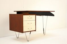 For more information visit: hedenverleden. White Drawers, Chrome Handles, Writing Desk, Mid Century Furniture, Interior Architecture, Office Desk, Teak, Shelving, Mid-century Modern