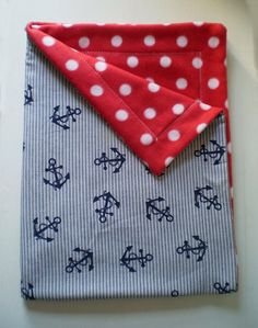 Cute- probably could find similar material!   Anchors Away nautical baby blanket $30.00, via Etsy.