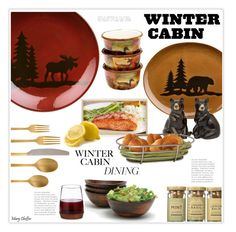 Winter Cabin by mcheffer on Polyvore featuring interior, interiors, interior design, home, home decor, interior decorating, Cambridge Silversmiths, Lipper, Certified International and Quail