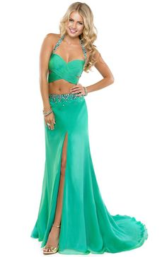 Two-piece chiffon dress with a jeweled neckline and waistband | Flirt #flirtprom #prom #dress #green
