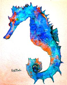 Seahorse, Ocean Animal, Sea, Marine Life, Girl's Room Decoration - Print from my Painting by ebsq   Artist Ricky Martin - FREE SHIPPING