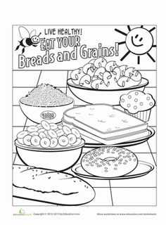 Coloring page for kids: Getting enough whole grains