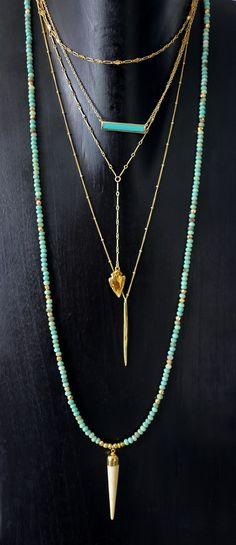 We are so obsessed with our signature horn necklace that we decided to make it in even more amazing gemstones! The richness & brightness in the moss green opal rondelles used in this one is absolutely