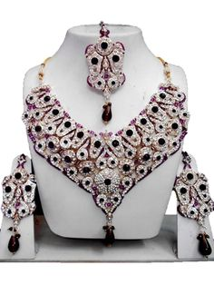 Checkout our #awesome product Bollywood Style Indian Imitation Necklace Set / AZBWBR064-GPU - Bollywood Style Indian Imitation Necklace Set / AZBWBR064-GPU - Price: $195.00. Buy now at http://www.arrascreations.com/bollywood-style-indian-imitation-necklace-set-azbwbr064-gpu.html