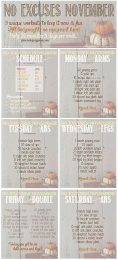 The holidays are almost here & it is time to keep active! Here are some easy workouts to keep you fit this Fall!