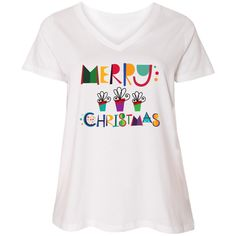 Cute Merry Christmas Ladies Curvy V-Neck Tee holiday outfit with gifts border and colorful lettering.