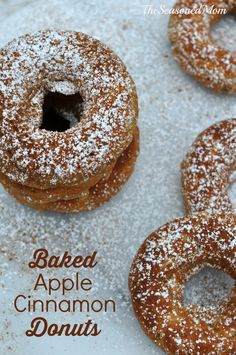 Baked Apple Cinnamon Donuts http://www.theseasonedmom.com/baked-apple-cinnamon-donuts-2/: a healthy, make-ahead, freezer-friendly breakfast treat that your kids will love!  #cleaneating