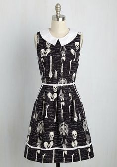 Rad to the Bone Dress in Homo Sapiens. As your guests arrive at your dinner and cocktail party, theyll have to try not to lose their heads over this anatomically chic fit and flare dress! #black #modcloth