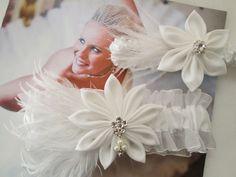 White WEDDING Garter Set White Flapper by GibsonGirlGarters, $59.99