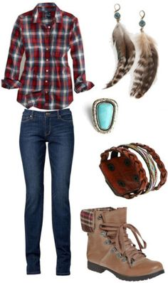 fall outfit. (Plaid shirt- American Eagle; Straight Leg Jeans- Witchery; Boots- Modcloth; Leather Cuff Bracelet- Urban Outfitters; Feather Earrings- Urban Outfitters; Turquoise Ring- threadsence)