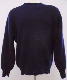 CLUB Room SWEATER Blue 46 MENS Navy SHETLAND Wool SCOTLAND Knit CREW Neck SIZE** #ClubRoom #Crewneck