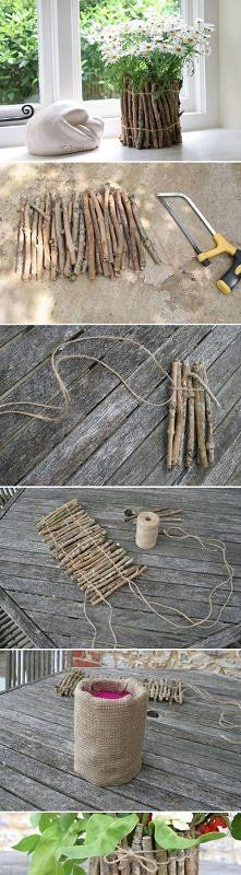 DIY Tree Branches Flower Pot na DIY - Zszywka.pl