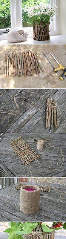 DIY Tree Branches Flower Pot na DIY - Zszywka.pl