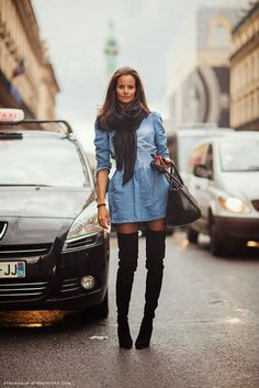 Epitome of cool: denim dress teamed w/ a grey scarf & over the knee boots #StreetStyle