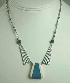 JAKOB BENGEL German ART DECO Chrome and Galalith Necklace