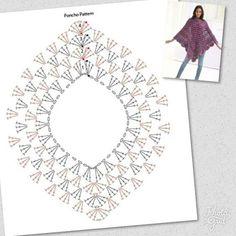 9 Ponchos con esquemas y más...   Otakulandia.es Crochet Poncho Patterns, Crochet Chart, Crochet Motif, Diy Crochet, Crochet Stitches, Knitting Patterns, Crochet Hedgehog, Crochet African Flowers, Knifty Knitter