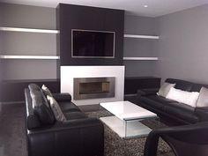 wood slat modern wall fireplace - Google Search