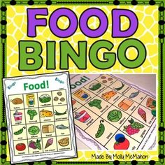 March is National Nutrition Month!  Get your students excited about healthy food choices with this food bingo game.  You will need COLOR ink to print the pages in this file.  There are a total of 18 bingo cards which print on a full sheet of paper.  All 18 cards use the same, 16 foods.  Both a graphic of the food and the food name are printed on the bingo cards so that both readers and non-readers can enjoy this game.