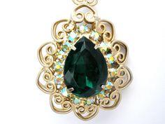 Juliana Green Rhinestone Double Sided Pendant Necklace Vintage