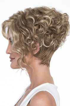 Wig features: Open Top As if the asymmetric, angled styling didn't add enough drama to this fashion-forward bob, Kelsey's long, lustrous curls make this wig a true show stopper. Asymmetrical Hairstyles, Fringe Hairstyles, Curly Bob Hairstyles, Older Women Hairstyles, Feathered Hairstyles, Short Curly Hair, Hairstyles With Bangs, Short Hair Cuts, Short Pixie